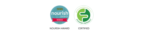that protein nourish award and low fodmap certified badges