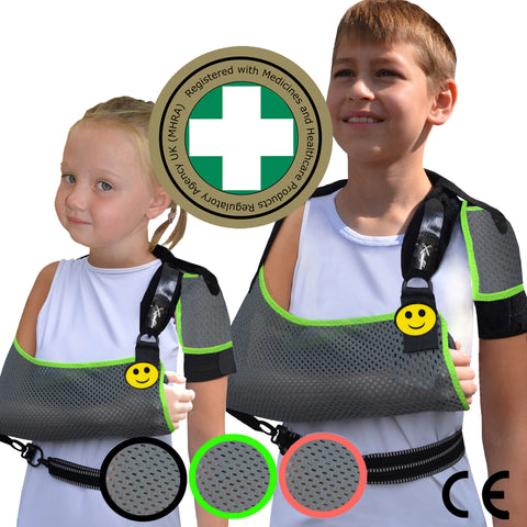 Arm Sling CHILD ANTI NECKACHE One-size, Grey/Lime Trim by 4DflexiSPORT®