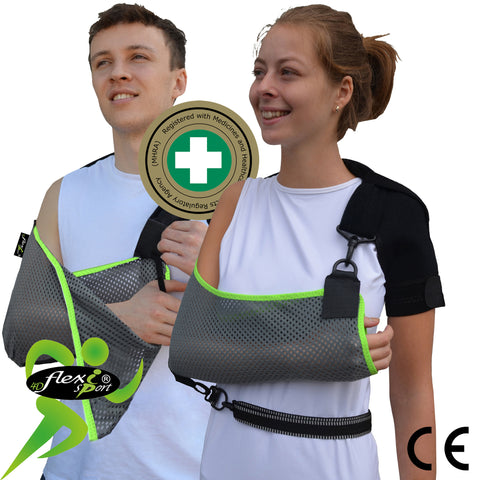 Arm Sling ADULT ANTI NECKACHE One-size, Grey/Lime Trim by 4DflexiSPORT®