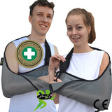Arm sling shoulder support extra deep light, luxuriously soft breathable, airflow cooling arm pocket.