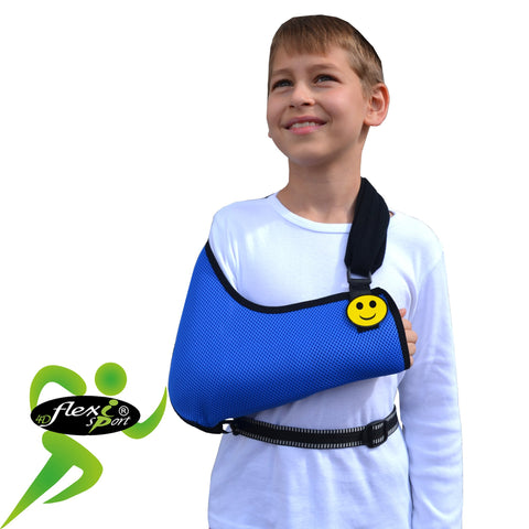 CHILD Arm Sling, AGE SIZED & WAIST STRAP by 4DflexiSPORT®