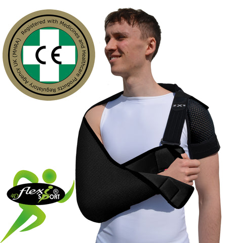 ADULT BLACK Arm Sling, SIZED, NECK PAIN PREVENTION by 4DflexiSPORT®