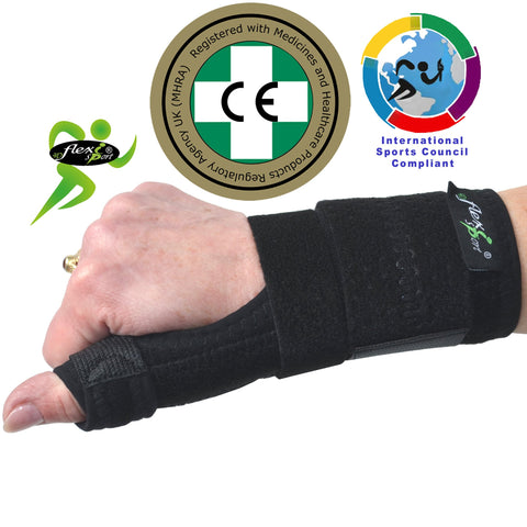 Thumb Support with BASE OF THUMB STRAP & Wrist Support by 4DflexiSPORT®