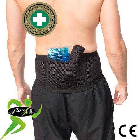Lumbar Support Belt with Therapeutic Ice/heat by 4DflexiSPORT®