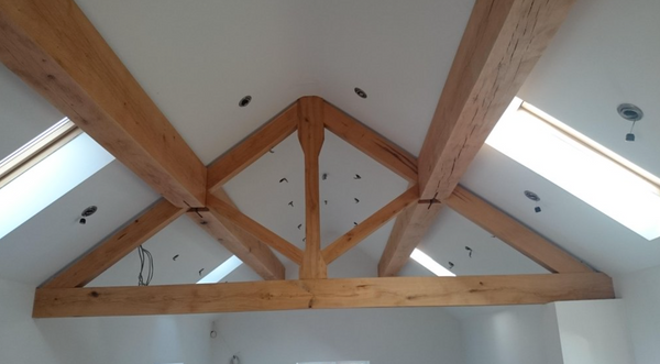 Wooden beams waxed with linseed oil wax