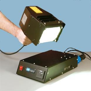 Linseed paint UV curing lamp with safety goggles