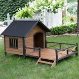 Dog House Lodge Solid Fir Wood Sun Deck Porch Shelter Sanctuary Home Large New - ShopMonkeez  - 1