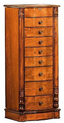 Jewelry Armoire Cabinet Box Honey Oak or Walnut Finish 8 Drawer Storage Wood Case - ShopMonkeez  - 3