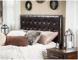 Headboard Upholstered Queen Padded Tufted Button Adjustable Full Fabric Leather - ShopMonkeez  - 1