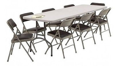 Banquet Folding Table Chair Set Wedding Catering Event Party Restaurant 9 Pieces - ShopMonkeez  - 1