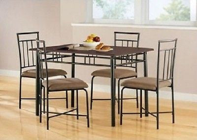 Dining Set Table 4 Chairs Kitchen Room Area 2 Color Choices Modern Style Compact - ShopMonkeez  - 1
