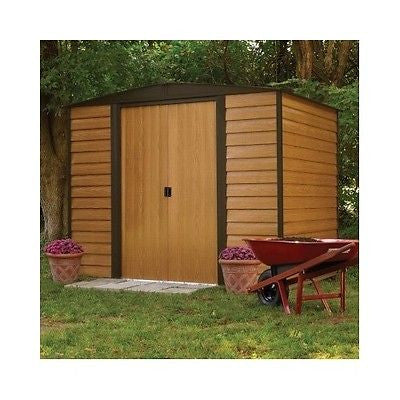 Garden Storage Shed Steel Frame Plank Siding Double Door Metal Building Kit New - ShopMonkeez  - 1