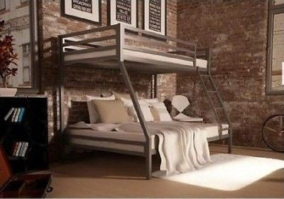 Bunk Bed Twin Over Full Metal Frame Kids Teens Bedroom Loft Dorm Bedroom Ladder - ShopMonkeez  - 1