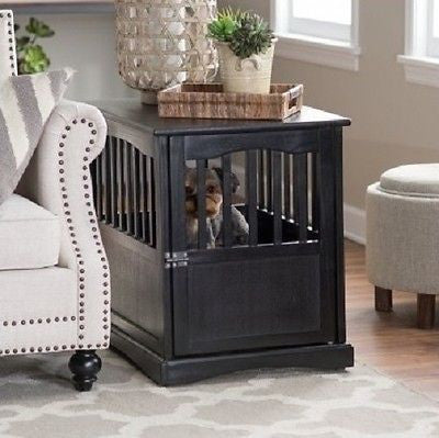Pet Crate End Table Dog Cage Kennel Furniture Bed Wood