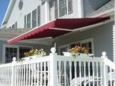 Retractable Patio Awning Manual 10 X 8 Sun Rain Protection Many Colors Deck New - ShopMonkeez  - 2