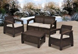 Patio Set Furniture Outdoor Wicker Chairs Table Sofa With Cushions Garden Bistro - ShopMonkeez  - 8