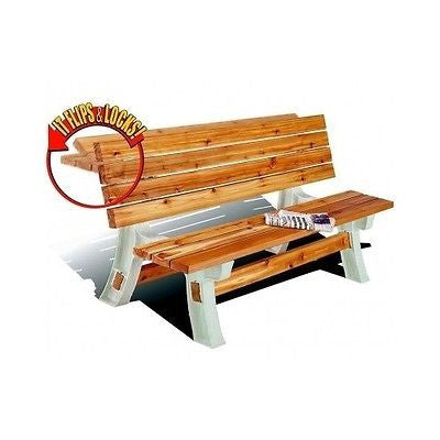 Bench Picnic Table Flip Top Kit Outdoor Seat Patio Yard Garden Furniture New - ShopMonkeez  - 1