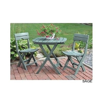 Bistro Cafe Dining Set Outdoor Garden Folding Patio Furniture With Umbrella Hole - ShopMonkeez  - 1
