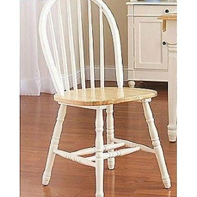 Dining Room Kitchen Windsor Chair Set Of 2 White Natural Table Seating Nook New - ShopMonkeez  - 1