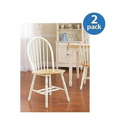Dining Room Kitchen Windsor Chair Set Of 2 White Natural Table Seating Nook New - ShopMonkeez  - 2