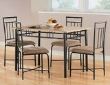 Dining Set Table 4 Chairs Kitchen Room Area 2 Color Choices Modern Style Compact - ShopMonkeez  - 4