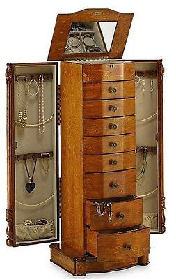 Jewelry Armoire Cabinet Box Honey Oak or Walnut Finish 8 Drawer Storage Wood Case - ShopMonkeez  - 1