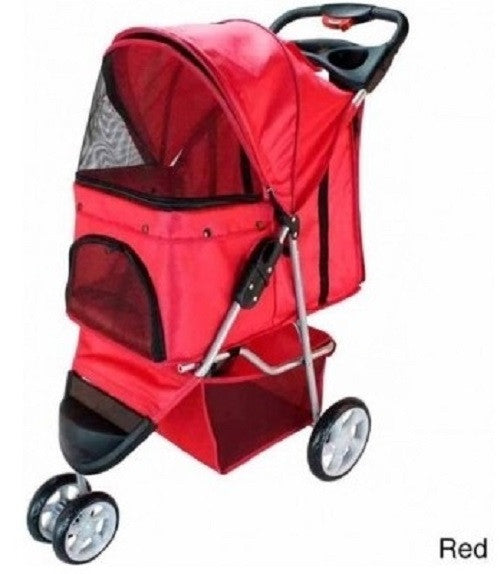 3 Wheel Dog Cat Pet Stroller New Folding Travel Carrier With Deluxe Cup Holder Tray - ShopMonkeez  - 2