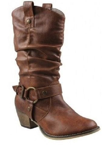 Boots Western Fashion Cowboy Style Cowgirl Women Slouch Faux Leather Tan Womens Medium Width - ShopMonkeez  - 1