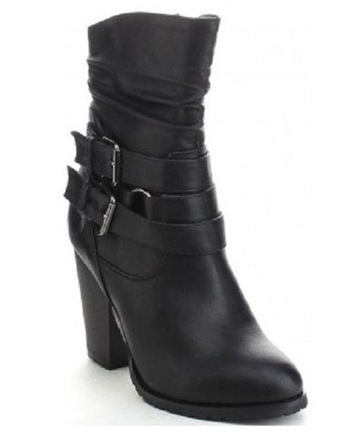 Women's Mid Calf Boot - Slouchy Style With Chunky Heel Buckles Side Zip - ShopMonkeez  - 1