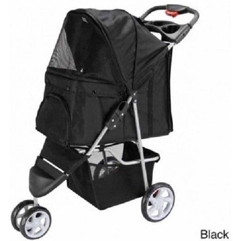 3 Wheel Dog Cat Pet Stroller New Folding Travel Carrier With Deluxe Cup Holder Tray - ShopMonkeez  - 1