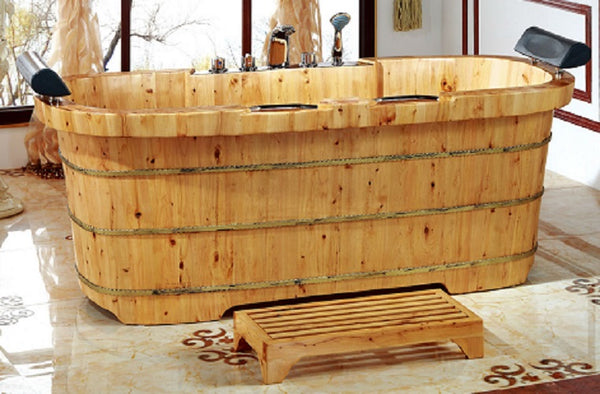 Cedar Wood Bathtub 2 Person Classic Design with Headrests