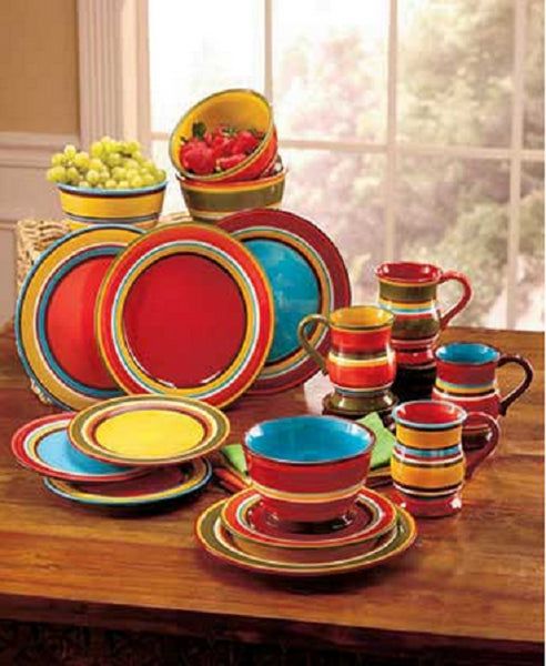 Festive Striped Dinnerware Set 16 Piece Serves 4 - ShopMonkeez  - 1