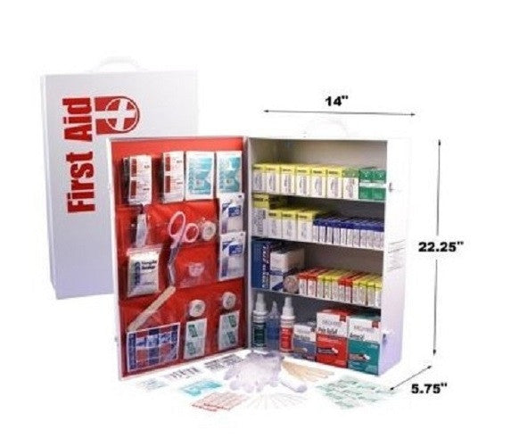 First Aid Cabinet 4 Shelf Emergency Kit Wall Mount Metal - ShopMonkeez  - 1