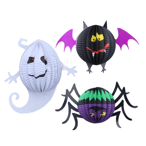 Halloween Paper Lantern Pendant Bat Ghost Spider 3pcs Decoration Prop