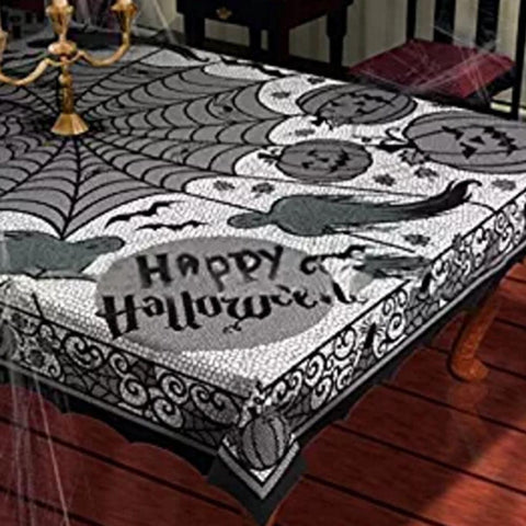 Spider Web Pumpkin Ghost Halloween Black Lace Tablecloth 59 in x 82.5 in