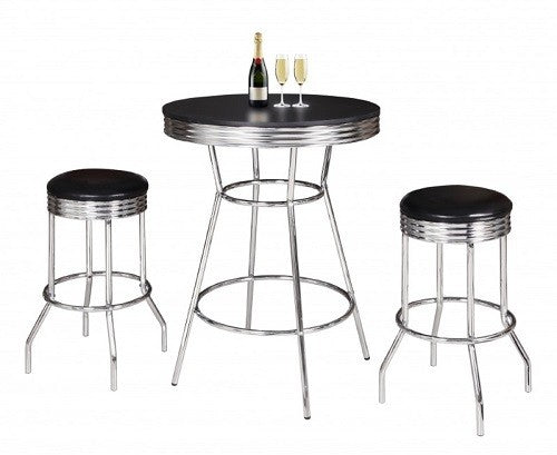 Pub Table Set Retro 3 Piece Chrome and Black