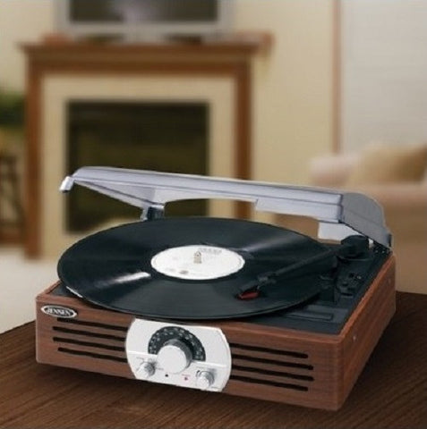 Stereo Turntable Vintage Look Vinyl Record Player AM FM Receiver 3-Speed - ShopMonkeez  - 1