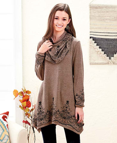 Women's Tunic Sweater Scarf Set