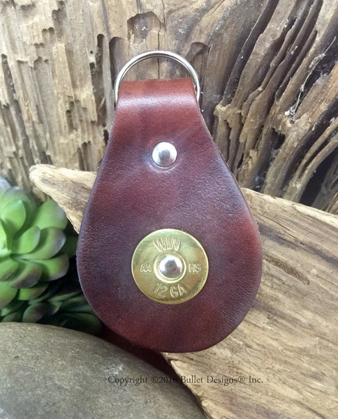 12 Gauge Leather Key Fob Chain Keychain Keyring Dark Brown Leather