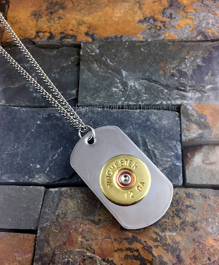 12 Gauge Shotgun Dog Tag Necklace, Stainless Steel Chain