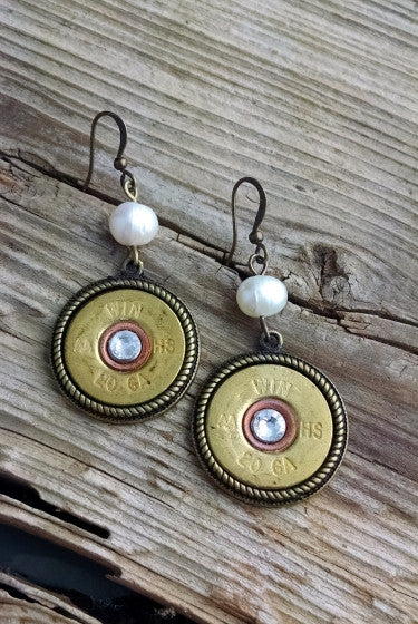 20 Gauge Shotgun Pearl Earrings