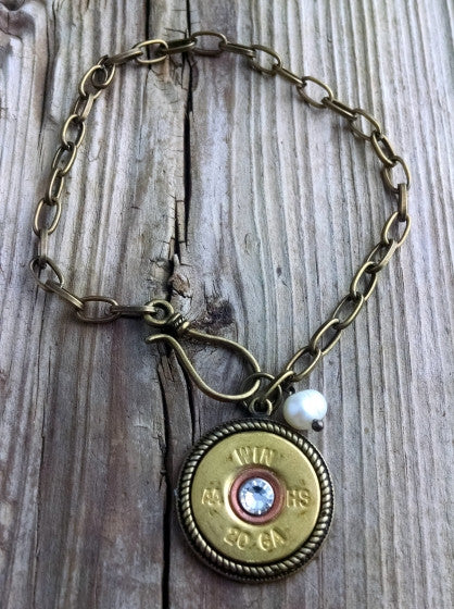 20 Gauge Brass Shotgun Shell & Single Pearl Chain Bracelet