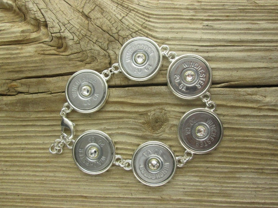 20 Gauge Nickel Shotgun Shell Tennis Bracelet