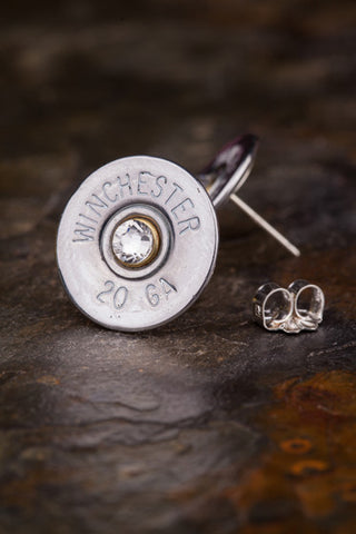 20 Gauge Shotgun Shell Stud Earrings Studs