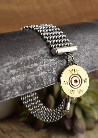 Stylish 20 Gauge Shotgun Mixed Metal Bracelet, Stainless Steel Ball Chain, Custom