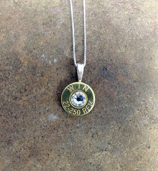 22-250 Sterling Silver Bullet Head Necklace