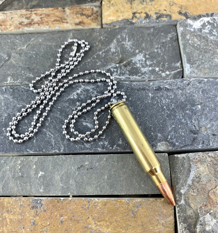 223 Brass Bullet Necklace