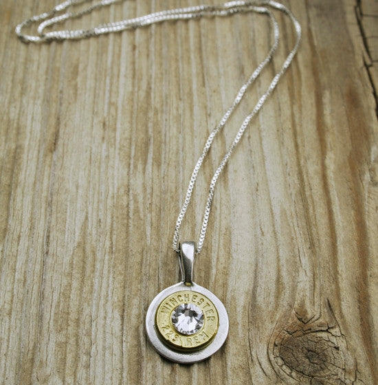 223 Brass Bullet Sterling Silver Necklace