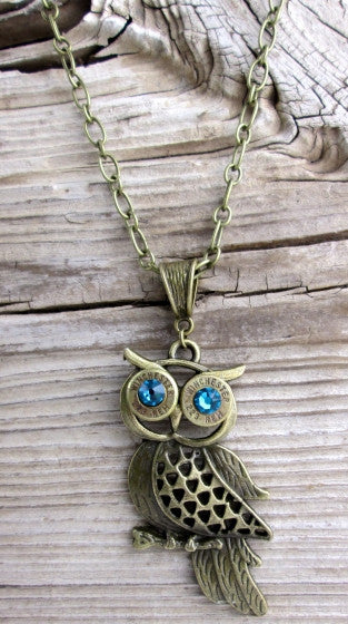 223 Thin Antique Brass Bullet Bronze Owl Necklace