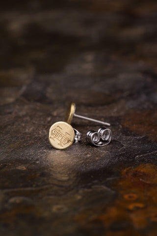 .22 Caliber Rifle Brass Bullet Head Stud Earrings